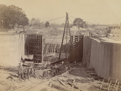 80 ft Entrance from River to Half Tide Basin, showing Gates in course of erection, Calcutta Docks